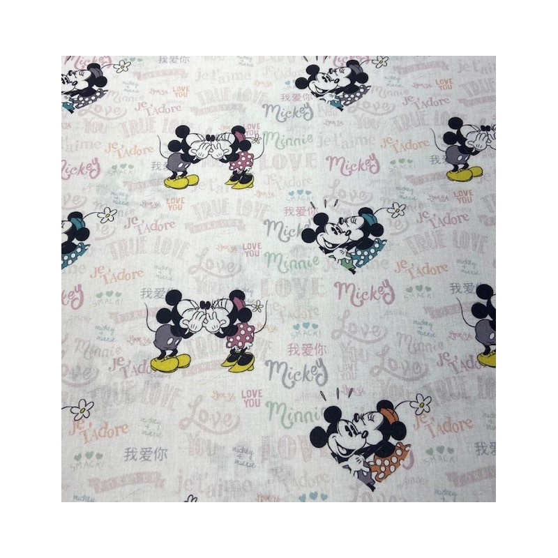 TELA ALGODON MICKEY Y MINNIE